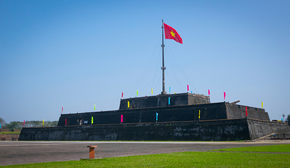 Flag Tower, Citadel, Imperial City in Hue, Vietnam. Built in the 19th century, it was much destroyed during the Vietnam war but parts of it rebuilt later