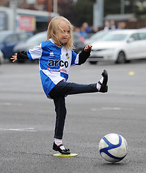 A Bristol Rovers fan plays football at an Open Day at the Memorial Stadium - Mandatory by-line: Dougie Allward/JMP - 07966386802 - 26/07/2015 - SPORT - FOOTBALL - Bristol,England - Memorial Stadium - Bristol Rovers Open Day - Bristol Rovers Open Day