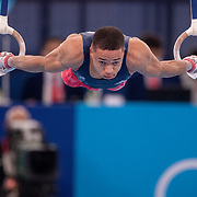 TOKYO, JAPAN - JULY 28: Joe Fraser of Great Britain performing his rings routine during the Men's All Round competition at Ariake Gymnastics Centre at the Tokyo 2020 Summer Olympic Games on July 28, 2021 in Tokyo, Japan. (Photo by Tim Clayton/Corbis via Getty Images)