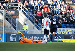 Falkirk's keeper David Mitchell goes down injured and gets stretchered off. Falkirk 2 v 0 Dunfermline, Scottish Challenge Cup played 7/9/2017 at The Falkirk Stadium.