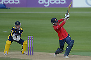 Essex all-rounder Tom Westley hits a 4 to bring up his century during the Royal London One Day Cup match between Hampshire County Cricket Club and Essex County Cricket Club at the Ageas Bowl, Southampton, United Kingdom on 5 June 2016. Photo by David Vokes.