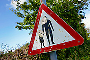 Road sign shot with airgun pellets,  North Cornwall