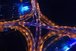 June 7, 2017 - Nanjin, Nanjin, China - Nanjing, CHINA-June 7 2017: (EDITORIAL USE ONLY. CHINA OUT) Night view of overpasses in Nanjing, east China's Jiangsu Province, June 7th, 2017. (Credit Image: © SIPA Asia via ZUMA Wire)