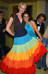 Left to right, JADE PARFITT and DANIELLA HELAYEL at a fashion show by ISSA held at Cocoon, 65 Regent Street, London on 21st September 2005.<br />