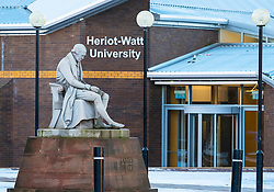 View of statue of James Watt outside Heriot-Watt University in Edinburgh, Scotland, United Kingdom