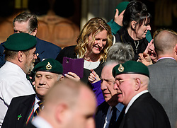 © Licensed to London News Pictures.15/03/2017.London, UK.  CLAIRE BLACKMAN, wife of Sergeant Alexander Blackman, chatting to former Royal Marines as she leaves the Royal Courts of Justice in London, where a judge reduced the conviction of Sgt Blackman from Murder to Manslaughter, on appeal.  Also known as Marine A, Sgt Blackman was appealing a life sentence for the murder of a wounded Taliban fighter in Afghanistan in 2011.Photo credit: Ben Cawthra/LNP