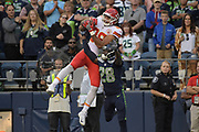 Aug 25, 2017; Seattle, WA, USA; Kansas City Chiefs tight end Ross Travis (88) is defended by Seattle Seahawks defensive back Pierre Desir (28) during a NFL football game at CenturyLink Field. The Seahawks defeated the Chiefs 16-13.