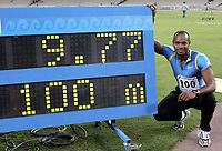 14.06.05 Athens, Greece<br />JAMAICAN SPRINTER ASAFA POWELL SETS NEW WORLD RECORD OF 9.77 SECONDS IN THE MEN'S 100 METERS AT THE  IAAF SUPER GRAND PRIX IN ATHENS/GREECE ON JUNE 14, 2005<br />Photo: Fotosports International/Action Press