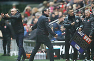 Blackpool's Manager Gary Bowyer tells a sub to get warmed up during the EFL Sky Bet League 1 match between Fleetwood Town and Blackpool at the Highbury Stadium, Fleetwood, England on 25 November 2017. Photo by Paul Thompson.