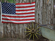 USA, Oklahoma, Arcadia, an American flag on the wall of the Hillbillee's Cafe on Historic Route 66.