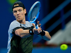 Tomas Berdych of Czech Republic returns the ball to Roberto Bautista Agut of Spain during their Final of ATP Qatar Open Tennis match at the Khalif?a International Tennis Complex in Doha, capital of Qatar, on January 05, 2019. Roberto Bautista Agut claimed the title by defeating Tomas Berdych with 2-1. (Credit Image: © Yangyuanyong/Xinhua via ZUMA Wire)