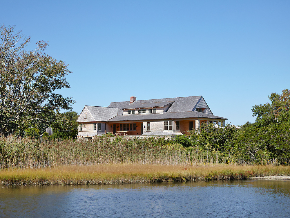 Rhode Island Coastal Home as seen from the water.