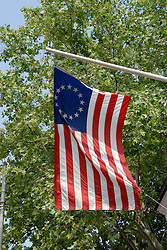Betsy Ross House, flag with 13 stars..Philadelphia, Pennsylvania, PA USA.  Photo copyright Lee Foster, 510-549-2202, lee@fostertravel.com, www.fostertravel.com. Photo 277-30245