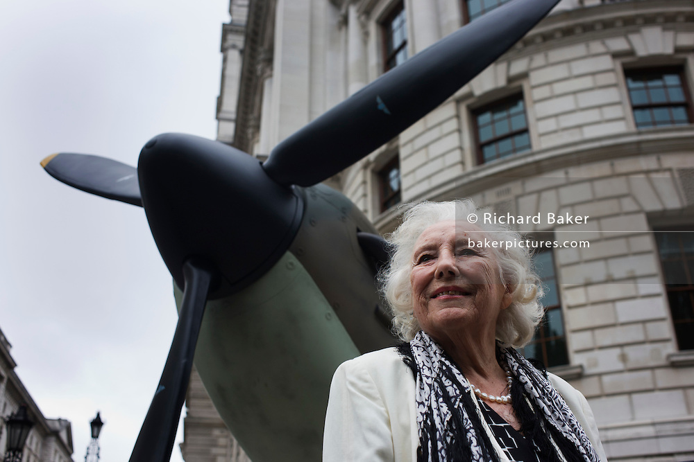 Wartime forces sweetheart Dame Vera Lynn makes an appearance near Spitfire fighter plane at the 70th anniversary of WW2 Battle of Britain.