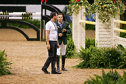 Jean Claude Van Geenberghe, BEL, Abdullah al Sharbatly, KSA<br /> World Cup Final Jumping - Las Vegas 2005<br /> © Hippo Foto - Dirk Caremans