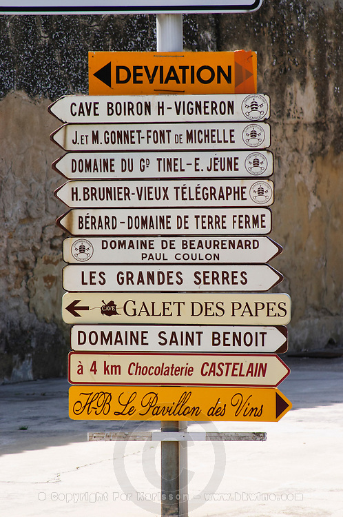 street sign to wineries chateauneuf du pape rhone france