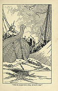 Then he leaped into King Arnvid's boat From the book ' Viking tales ' by Jennie Hall, Punlished in Chicago by Rand, McNally & co in 1902