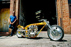 Arlen Ness with his custom Harley-Davidson Accel Bike behind Bob Dron's first Oakland Harley-Davidson store, Oakland, CA. Photograph ©Michael Lichter 1987