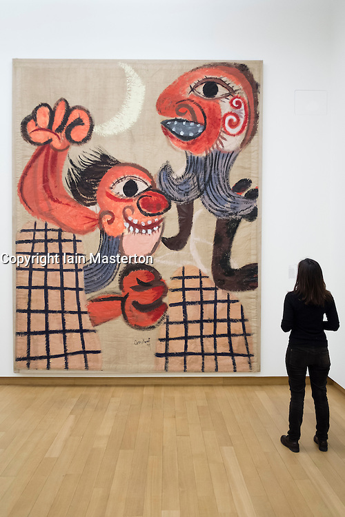 Painting by CONSTANT ; Barricade, at Stedelijk Museum of contemporary art in Amsterdam The Netherlands