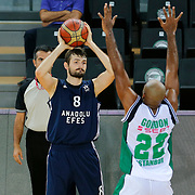 Darussafaka Dogus's and Anadolu Efes's during their Turkish Basketball League friendly match Darussafaka Dogus between Anadolu Efes at Ayhan Sahenk Arena in Istanbul Turkey on Tuesday 15 September 2015. Photo by Aykut AKICI/TURKPIX