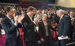 © Licensed to London News Pictures. 14/03/2015. Liverpool, UK. Nick Clegg, Danny Alexander, Rachel Smith, Vince Cable.  The Liberal Democrat Spring Conference in Liverpool 14th March 2015. Photo credit : Stephen Simpson/LNP