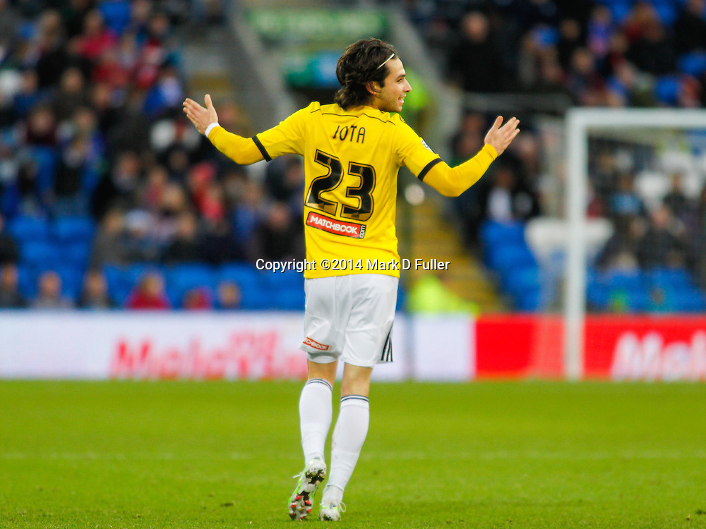 Brentford FC's Jota celebates scoring during the Sky Bet Championship match between Cardiff City and Brentford at the Cardiff City Stadium 20/12/2014<br /> Picture by Mark D Fuller