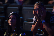Francisco Trevino and Tecia Torres wait backstage before the UFC weigh-in at the Mexico City Arena in Mexico City, Mexico on June 12, 2015. (Cooper Neill)