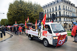 Strike over public sector low wages, Perigueux, Dordogne. France October 2021
