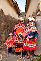 Native Peruvian women and their children in the  Sacred Valley, Peru.