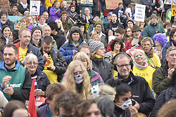 November 12, 2016 - Manchester, England, United Kingdom - People attend a protest rally against hydraulic fracturing, also known as 'fracking', on November 12, 2016 in Manchester, England. Hydraulic Fracturing is expected to take place in various locations around England, whilst the Scottish and Welsh Governments has introduced moratoriums on the gas extraction method. Although fracking is a controversial form of energy extraction, due to environmental concerns, fracking is supposed to provide cheaper and more secure energy for the United Kingdom's domestic energy market. (Credit Image: © Jonathan Nicholson/NurPhoto via ZUMA Press)
