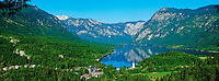 Slovenie, region de Gorenjska, Bohinj, parc national du Triglav, lac de Bohinj et eglise Saint Jean Baptiste // Slovenia, Gorenjska region, Triglav National Park, Bohinj lake and Church of St. John the Baptist