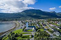 Bjerkvik kirke ligger i Bjerkvik i Narvik kommune i Nordland. Kirka er ei langkirke i betong og tegl med 320 sitteplasser. Den ble vigslet den 14. august 1955 av biskop Wollert Krohn-Hansen. Arkitekter for kirka var Arnstein Arneberg og Per Solemslie. Storfjellet i bakgrunnen. Dronefoto.