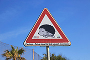 Caution drive slow do not squash me hedgehog road sign, Malta
