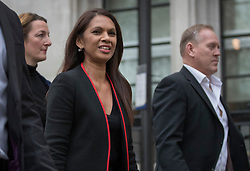 © Licensed to London News Pictures. 08/12/2016. London, UK. GINA MILLER (C) arrives at the Supreme Court in Westminster, London for the last day of a  Supreme Court hearing to appeal against a November 3 High Court ruling that Article 50 cannot be triggered without a vote in Parliament. Photo credit: Peter Macdiarmid/LNP
