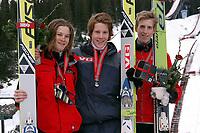 Junior NM nordiske grener 2004, Granåsen, Trondheim, hopp K 120, (fra venstre) Tom André Hilde, Asker Skiklubbm Jon Aaraas, Ready, Håkon Helgesen, Gjerstad IL<br /><br />Foto: Carl-Erik Eriksson, Digitalsport