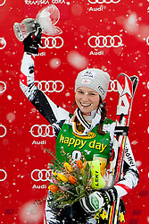 SCHILDBernadette of Austria during flower ceremony of 50th Golden Fox Audi Alpine FIS Ski World Cup Ladies Slalom, on February 2, 2014 in Podkoren, Kranjska Gora, Slovenia. (Photo By Urban Urbanc / Sportida.com)