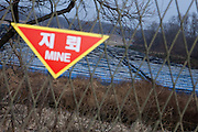 Dorasan/South Korea, Republic Korea, KOR, 28.11.2009: Mine warning close to the Dorasan Observatory. From the observation platform, North Korean military personnel are visible, and so are the highlights of Gaeseong and the Geumgangsan Diamond Mountains.