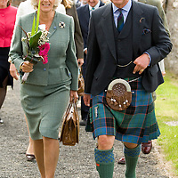 HRH The Prince Charles Duke of Rothesay and HRH Duchess of Rothesay walk to Canisbey Church to attend Sunday Service  (Caithness) Scotland Aug 5 2007
