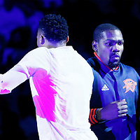 08 May 2016:  Oklahoma City Thunder forward Kevin Durant (35) is seen during the players introduction prior to the Oklahoma City Thunder 111-97 victory over the San Antonio Spurs, during Game Four of the Western Conference Semifinals of the NBA Playoffs at the Chesapeake Energy Arena, Oklahoma City, Oklahoma, USA.