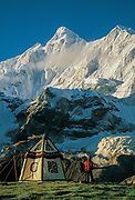 Tent camp on Pethang Ringmo under Chomolonzo, East of Chomolungma, Mt Everest, Tibet