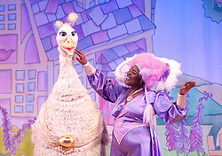 Mother Goose <br /> at the Hackney Empire, London, Great Britain <br /> press photocall<br /> 20th November 2014 <br /> <br /> Alix Ross as Priscilla (the Goose) <br /> Sharon D Clarke as Charity <br /> <br /> <br /> <br /> Photograph by Elliott Franks <br /> Image licensed to Elliott Franks Photography Services