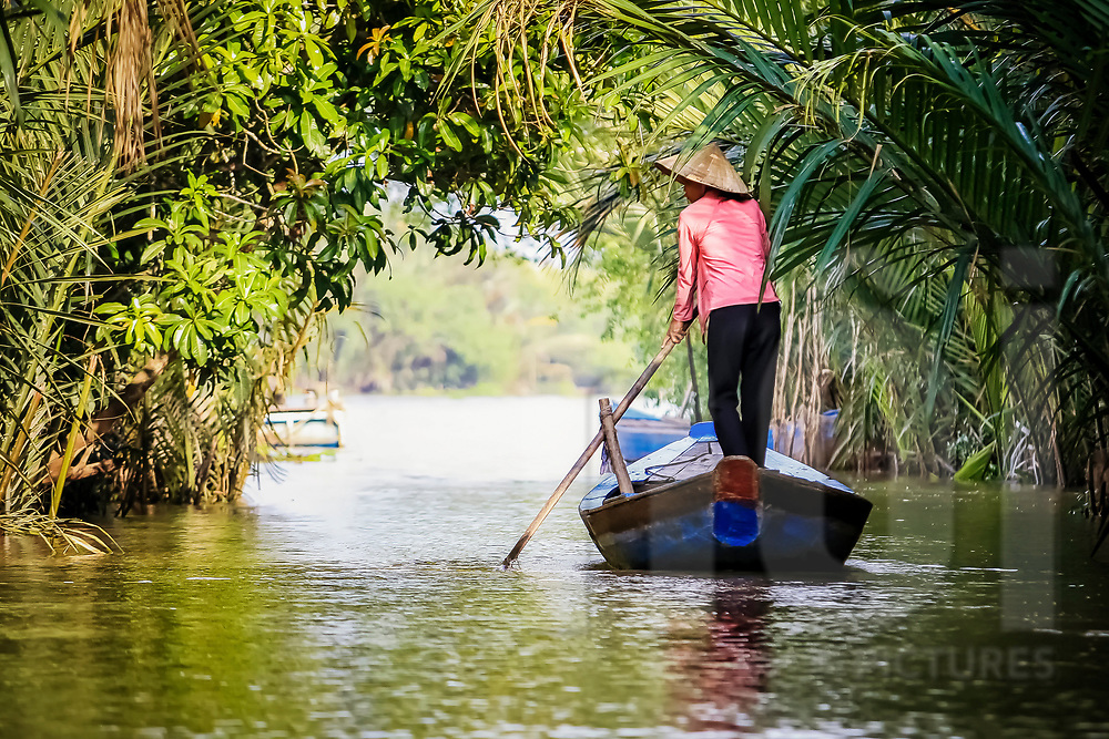 Vietnamese woman rows a small barge along a canal in Mekong Delta, Vietnam, Southeast Asia