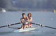 Barcelona, SPAIN. Gold Medalist, GBR M2+, Bow Jonny SEARLE and Greg SEARLE with cox, Gary HERBERT.  Moving away from the start.  1992 Olympic Rowing Regatta Lake Banyoles, Catalonia [Mandatory Credit Peter Spurrier/ Intersport Images] Last time Men's coxed pair raced at the Olympics