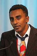 Restaurateur of the Year award winner Marcus Samuelsson of  Red Rooster. Manhattan Chamber of Commerce's 2012 Awards Breakfast celebrated business excellence by recognizing outstanding leaders. The awards were presented by Well Fargo and hosted at Con Edison's Conference Center on January 31, 2013.