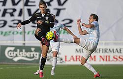 Oliver Drost (Kolding IF) og Frederik Bay (FC Helsingør) under kampen i 1. Division mellem FC Helsingør og Kolding IF den 24. oktober 2020 på Helsingør Stadion (Foto: Claus Birch).