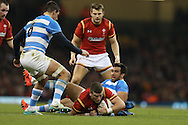Scott Williams of Wales is stopped by Matias Orlando of Argentina. Under Armour 2016 series international rugby, Wales v Argentina at the Principality Stadium in Cardiff , South Wales on Saturday 12th November 2016. pic by Andrew Orchard, Andrew Orchard sports photography