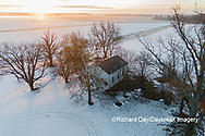 63895-17515 Aerial view of Pleasant Grove Church at sunrise in winter Marion Co. IL