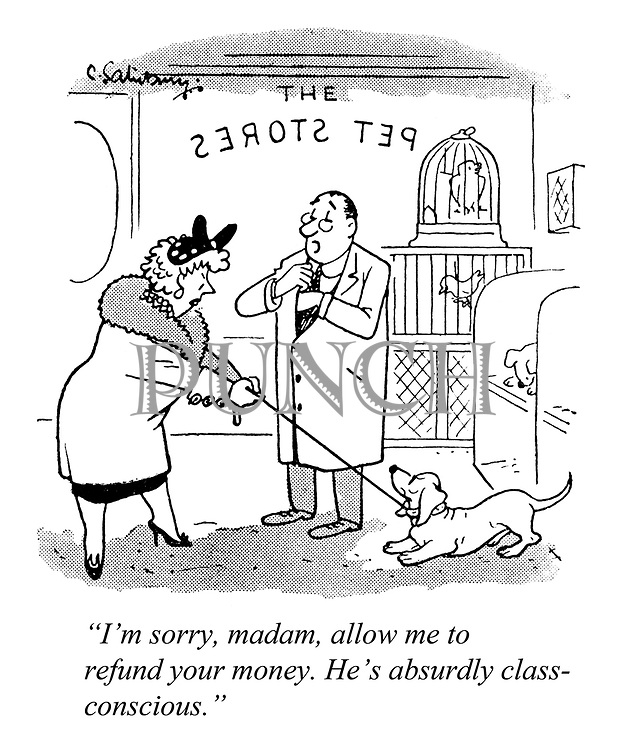"""""""I'm sorry, madam, allow me to refund your money. He's absurdly class-conscious."""""""