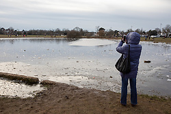 © Licensed to London News Pictures. 13/02/2021. London, UK. A women takes a photo of ice on Rushmere Pond on Wimbledon Common in South West London which has frozen over as freezing temperatures once again hit the South East. This week the government will mull over its road map for unlocking the country from Covid-19 restrictions as the vaccination programme starts to take effect. Photo credit: Alex Lentati/LNP