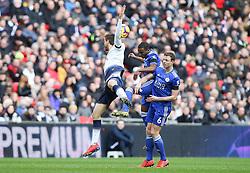 Ricardo Pereira of Leicester City wins a header under pressure from Fernando Llorente of Tottenham Hotspur - Mandatory by-line: Arron Gent/JMP - 10/02/2019 - FOOTBALL - Wembley Stadium - London, England - Tottenham Hotspur v Leicester City - Premier League